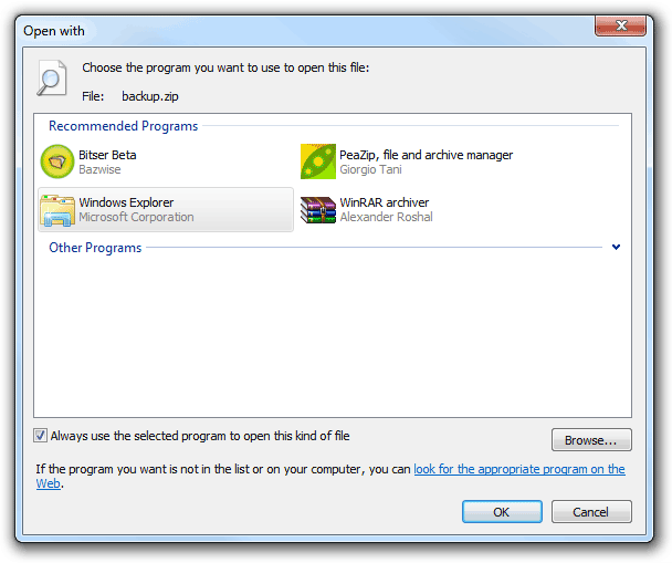 How to restore default zip file associations in Windows