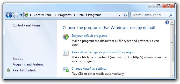 zip default programs